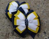 2 School uniform Hair Bow Navy Hair Bows Navy yellow and White Hair Bows Pigtail Set