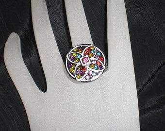 Gunmetal Pewter & Multi-Colored Rhinestone Flower Stretch Ring