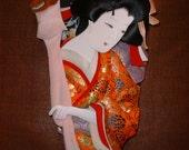 Japanese Geisha 3D Fabric Sculpture on Wood Silks Brocades Amazing