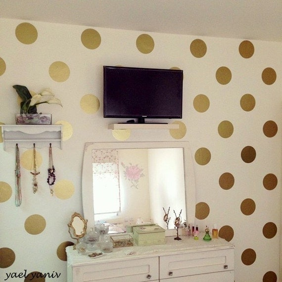 Gold Circles Wall Decor : Items similar to circle wall decal in gold with a stencil
