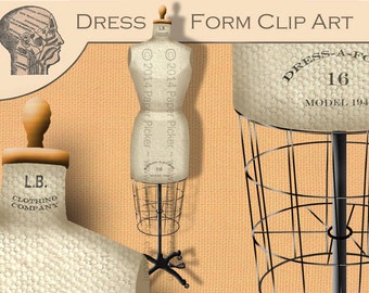Large Antique Dress Form Clip Art Graphics Picture Instant Download Printable PNG File