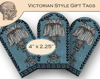 Printable Gothic Gift Tags Digital Art Victorian Lamp Art Vintage Home Decor Graphics