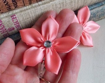 Flower Hair Accessory Ribbon Floral Hair Clip Headband Pink Little Girls Boutique Hair Accessory Toddlers Hair