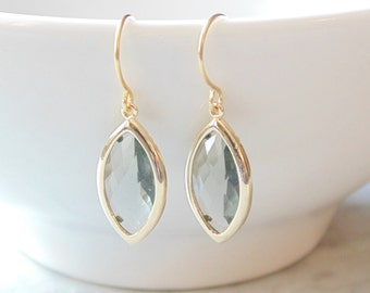 Gray marquise glass gold dangle drop earrings.  French wires.  Bridal earrings.  Bridesmaids earrings. Wedding jewelry.