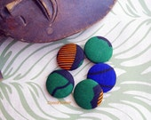 5 large buttons African fabric Button Multicolored Wax button Ethnic Button Round button Size 45 (11/8 inches) 28 mm