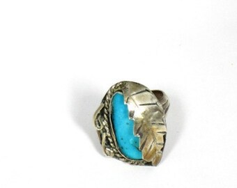 Native American Turquoise and Silver Ring Size 8