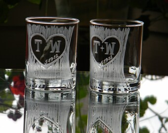 Wedding, Anniversary or Engagement Carved Tree Trunk Rock DOF Glasses with Heart and Initials-Set of 2