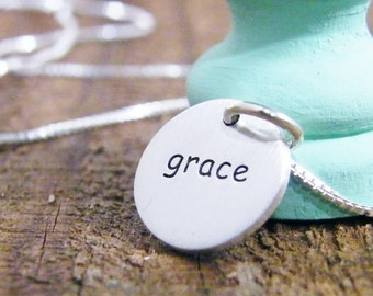 sterling silver two sided word charm necklace grace matte finish