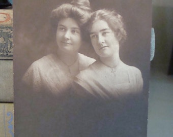 Antique Photo Vintage  Victorian Sepia Photo Sweet  Touching Sisters Cross Necklaces