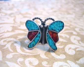 Vintage Sterling Silver Inlaid Turquoise & Coral BUTTERFLY Ring