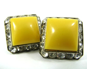 Square Yellow Cabochon with Rhinestone Clipback Earrings