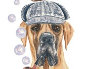 Original Great Dane Watercolor Painting - 11x14 Painting, Sherlock Holmes, Bubbles, Dog Watercolour