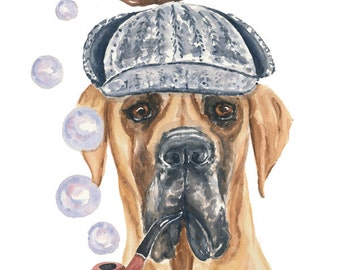 Original Great Dane Watercolor Painting - 11x14 Painting, Sherlock Holmes, Bubbles, Dog Watercolour
