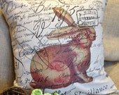 Pillow Slip  Cover French Script and Burlap Pillow Slip Brown Rabbit 18x18 by Gathered Comforts