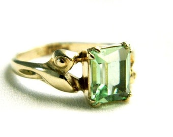 Vintage C&C 10K Gold Filled Green Peridot Ring - Emerald Cut Glass - Signed - Size 6