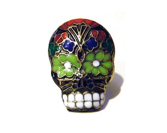 Day of the Dead Black Skull Pin Gothic Sugar Skeleton Red Blue Enamel Mens Tie Pin