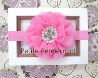 Pink Baby Headband, Baby flower headband, Newborn Headband Toddler Headband, Pink Baby Flower Headband,Pink Baby Hair Bow,Pink Bow Headband