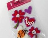 Valentine Felt Stickers : Mark Richard Collection - Kisses & Hugs