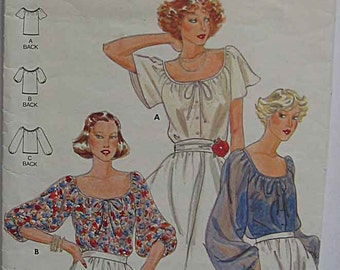 Vintage Misses' Peasant Blouse, Butterick 5885 Sewing Pattern Size 10