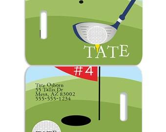 Golf Personalized Bag or Luggage Tag, Custom Personalized Luggage Tags, Monogrammed Bag Tags, Custom Monogrammed Bag Tags