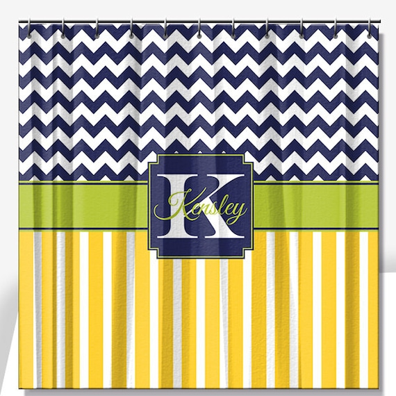 Chevron Stripes Personalized Shower Curtain By LimeRikeeDesigns