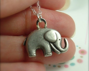 Elephant Necklace, Silver Elephant  Necklace, Elephant Jewelry, Cute Elephant Necklace, Gift For Animal Lover, Gift For Her, Ask Questions