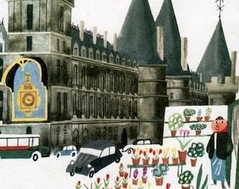 the Conciergerie, PARIS print with Flower seller and 2CV car, paris decor
