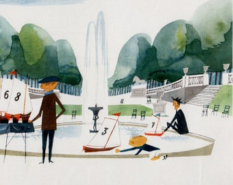 Paris print JARDIN DU LUXEMBOURGE, mid-century illustration, park with fountain and toy sailboats