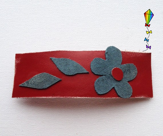 Large Hair Clip made from Reclaimed Leather - Autumn Flower Design