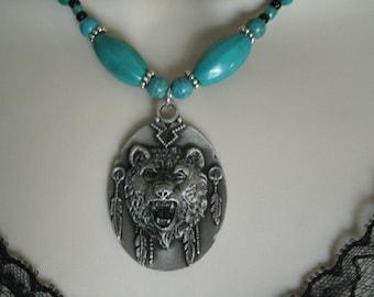 Turquoise Bear Necklace, southwestern jewelry southwest jewelry turquoise jewelry native american jewelry theme western jewelry country