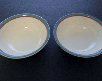 Soup or Cereal Bowl Stoneware Pfaltzgraff Juniper Pattern USA 1990 - Two