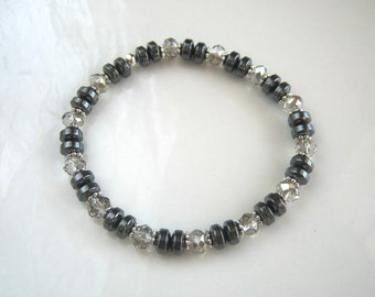 Non Magnetic Crystal and Hematite Bracelet Gunmetal Stacking Bracelet Hematite Stretch Bracelet
