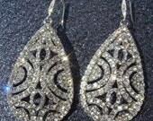 Bridal Rhinestone Earrings / SUPER SPARKLERS Art Deco vintage inspired wedding earrings