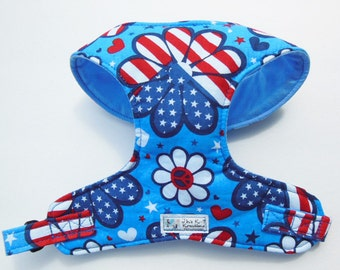 Patriotic 4th of July Comfort Soft Dog Harness. - Made to order -