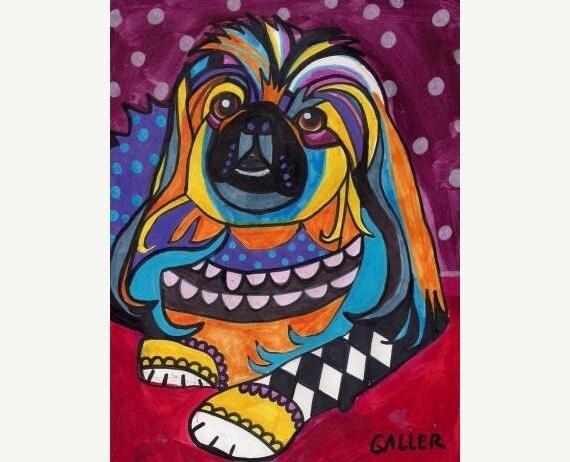 50% Off - Pekingese Art dog  Art Print Poster by Heather Galler (HG748)