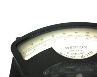 Weston DC Millivoltmeter / Industrial Decor : Weston Electrical Instrument Corporation Newark NJ USA Man Cave Father's Day Gift Steampunk