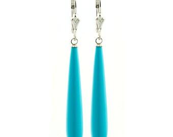Sleeping Beauty Turquoise Teardrop Lever Back Earrings 35mm Long, 925 Sterling Silver