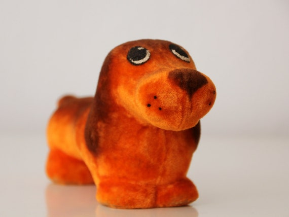 Very lovely vintage flocking Dachshund from Soviet Union, 70s