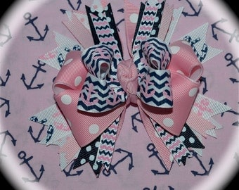 Custom Boutique Ribbon Themed Hair Bow Set Adult Women's Ladies College Sorority Alpha Delta Sigma Beta Gamma Kappa Phi