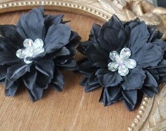 Black     color  organza flower with rhinestone 2 piece listing