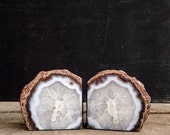 White and Grey Natural Agate Geode Book Ends, Sliced Geode, Rock, Natural Curiosity, Round Geode, Restoration Hardware, Cave, Crystal - pippamarxstudio
