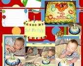 Scrapbook Page. First Birthday 12x12 with extra digital elements, instant download, printable sigital scrapbook page