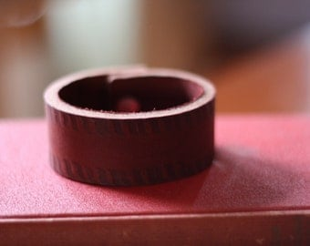 Leather Bracelet, Brown Branded with button stud closure (Size 7 inches)