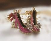 Pink shoes earrings