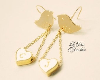 Love birds initials earrings