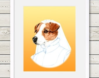 Jack Russell Art - Jack Russell Bride Dog Portrait Painting - Wedding Dog Art, dog lover gift, dog print