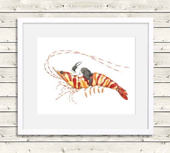 Bunny Riding Tiger Shrimp - Rabbit Art, rabbit painting