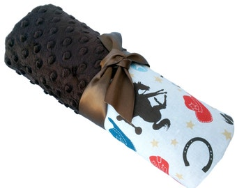Western Cowboy Wanna Be a Cowboy Cotton Baby Blanket with Brown Dot Minky Back Personalization Included Stroller Size