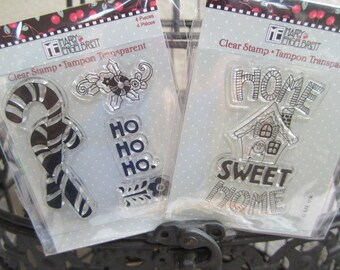 Christmas Stamps (3)  Choose any 3 packs  candy cane, gingerbread house, snowman, merry christmas, christmas trees, dove, maical christmas