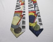 NECKTIE MENS Vintage Neck Tie New Deadstock 1980s Novelty Print - Piano Keys Keyboard - You Choose Color (1)